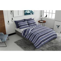 Σετ Υπέρδιπλη Παπλωματοθήκη με Μαξιλαροθήκες 220 x 240 cm Pierre Cardin Classic Stripe Blue Χρώματος Μπλε
