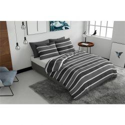 Σετ Μονή Παπλωματοθήκη με Μαξιλαροθήκη 140 x 200 cm Pierre Cardin Classic Stripe Grey Χρώματος Γκρι