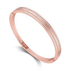 Βραχιόλι Philip Jones Double Row Bangle Χρώματος Ροζ - Χρυσό με Κρύσταλλα Swarovski®