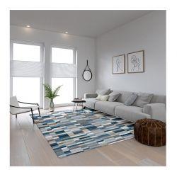 Χαλί 190 x 300 cm Χωρίς Πέλος Qube Pattern Blue Χρώματος Μπλε
