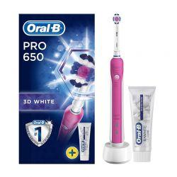 Επαναφορτιζόμενη Ηλεκτρική Οδοντόβουρτσα Oral-B Pro 650 Pink 3D White και Οδοντόκρεμα Oral-B 3D White Luxe Perfection 75ml