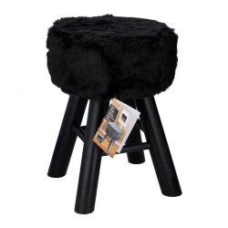 Ξύλινο Σκαμπό με Κάθισμα από Συνθετική Γούνα 30 x 44 cm Arti Casa 05713