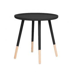 Ξύλινο Στρογγυλό Τραπέζι 60 x 60 x 48 cm Χρώματος Μαύρο Homestyle 99487