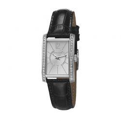Γυναικείο Ρολόι Χρώματος Ασημί με Μαύρο Δερμάτινο Λουράκι Pierre Cardin La Tete d'Or PC106562F01