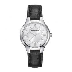 Γυναικείο Ρολόι Χρώματος Ασημί με Μαύρο Δερμάτινο Λουράκι Pierre Cardin Pont Marie PC107942F01
