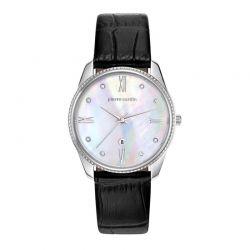 Γυναικείο Ρολόι Χρώματος Ασημί με Μαύρο Δερμάτινο Λουράκι Pierre Cardin Chatelet PC107572F01