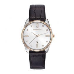 Γυναικείο Ρολόι Χρώματος Ασημί με Μαύρο Δερμάτινο Λουράκι Pierre Cardin Chatelet PC107572F04