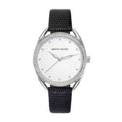 Γυναικείο Ρολόι Χρώματος Ασημί με Μαύρο Δερμάτινο Λουράκι Pierre Cardin Drouot PC901872F01