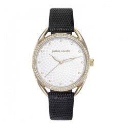 Γυναικείο Ρολόι Χρώματος Χρυσό με Μαύρο Δερμάτινο Λουράκι Pierre Cardin Drouot PC901872F03