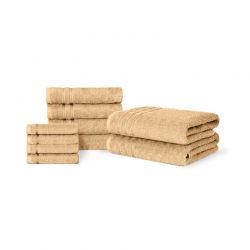 Σετ 10 Πετσέτες με Ρίγα Dickens από 100% Αιγυπτιακό Βαμβάκι Χρώματος Μπεζ DLUSH-LISBON-10BI