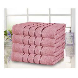 Σετ 4 Πετσέτες Σώματος με Ρίγα Dickens από 100% Βαμβάκι Χρώματος Ροζ DLUSH-LUXE-4DP