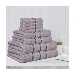 Σετ 8 Πετσέτες με Ρίγα Dickens από 100% Βαμβάκι Χρώματος Ασημί DLUSH-STRIPES-8SI