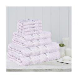 Σετ 8 Πετσέτες με Ρίγα Dickens από 100% Βαμβάκι Χρώματος Λευκό DLUSH-STRIPES-8WH