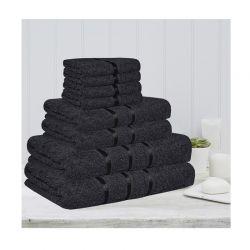 Σετ 8 Πετσέτες με Ρίγα Dickens από 100% Βαμβάκι Χρώματος Μαύρο DLUSH-STRIPES-8BL