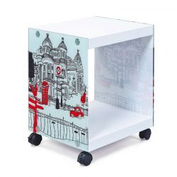 Ξύλινο Βοηθητικό Τραπεζάκι - Κομοδίνο με Γυάλινες Πλευρές 38 x 33.5 x 46 cm Esedra 20040010