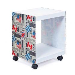 Ξύλινο Βοηθητικό Τραπεζάκι - Κομοδίνο με Γυάλινες Πλευρές Flag 38 x 33.5 x 46 cm Esedra 20040014