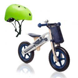 Σετ Παιδικό Ξύλινο Ποδήλατο Ισορροπίας Με Αξεσουάρ Runner Moto και Παιδικό Κράνος Ασφαλείας KinderKraft
