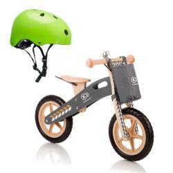 Σετ Παιδικό Ξύλινο Ποδήλατο Ισορροπίας Με Αξεσουάρ Runner Nature και Παιδικό Κράνος Ασφαλείας KinderKraft