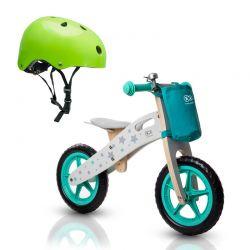Σετ Παιδικό Ξύλινο Ποδήλατο Ισορροπίας Με Αξεσουάρ Runner Stars και Παιδικό Κράνος Ασφαλείας KinderKraft