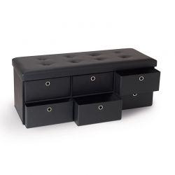 Πτυσσόμενος Πάγκος Αποθήκευσης με 6 Συρτάρια 76 x 38 x 38 cm Χρώματος Μαύρο 50070202