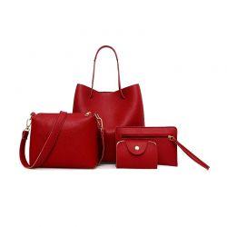 Σετ Γυναικείες Τσάντες Χρώματος Κόκκινο 4 τμχ DB4089