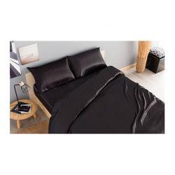 Σετ Παπλωματοθήκη με Μαξιλαροθήκες και Σεντόνι Σατέν 140 x 190 + 30 cm Διπλό Χρώματος Μαύρο SPM 30101021