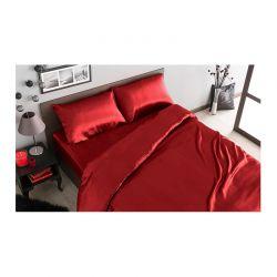 Σετ Παπλωματοθήκη με Μαξιλαροθήκες και Σεντόνι Σατέν 160 x 200 + 30 cm Υπέρδιπλο Χρώματος Κόκκινο SPM