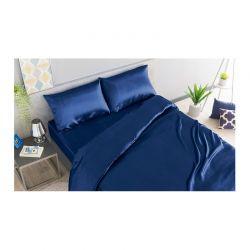 Σετ Παπλωματοθήκη με Μαξιλαροθήκες και Σεντόνι Σατέν 160 x 200 + 30 cm Υπέρδιπλο Χρώματος Μπλε SPM