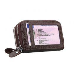 Δερμάτινο Γυναικείο Πορτοφόλι με Αντικλεπτική Προστασία RFID Χρώματος Καφέ SPM DB4788
