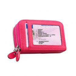 Δερμάτινο Γυναικείο Πορτοφόλι με Αντικλεπτική Προστασία RFID Χρώματος Ροζ SPM DB4787