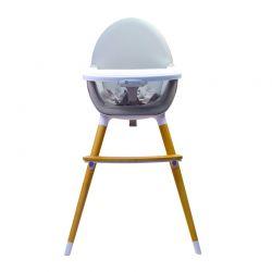 Παιδικό Κάθισμα Φαγητού 2 σε 1 Χρώματος Γκρι Kinderline Wooden Pod WHC-701.1-Grey