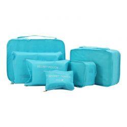 Σετ Αδιάβροχα Τσαντάκια Ταξιδιού 6 τμχ Χρώματος Μπλε SPM 6pcluggorgan-BLUE