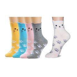Σετ Γυναικείες Κάλτσες με Σχέδιο Γάτας 5 Ζευγάρια SPM DB4895