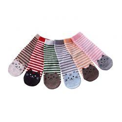 Σετ Γυναικείες Ριγέ Κάλτσες με Σχέδιο Γάτας 6 Ζευγάρια SPM DB4471