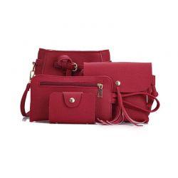 Σετ Γυναικείες Τσάντες Χρώματος Κόκκινο 4 τμχ SPM DB4443