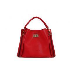 Γυναικεία Τσάντα Χειρός με Πλεκτό Χερούλι Χρώματος Κόκκινο Beverly Hills Polo Club 802 657BHP0638