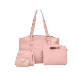 Γυναικείες Τσάντες με Φερμουάρ Σετ 4 τεμαχίων Χρώματος Ροζ SPM DB4601