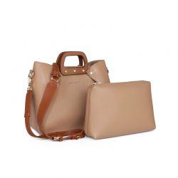 Γυναικεία Τσάντα Ώμου με Ξύλινες Λαβές Χρώματος Camel Laura Ashley Melville 651LAS1517