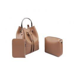 Γυναικεία Τσάντα Χειρός με Μεταλλική Λαβή Χρώματος Camel Laura Ashley Kensington 651LAS0949