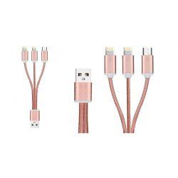 Καλώδιο Φόρτισης / Δεδομένων Braided USB 3 σε 1 21 cm Χρώματος Ροζ - Χρυσό FX R175074