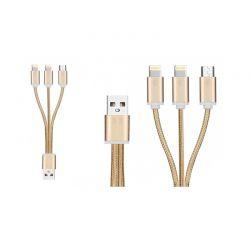 Καλώδιο Φόρτισης / Δεδομένων Braided USB 3 σε 1 21 cm Χρώματος Χρυσό FX R175072