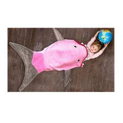 Παιδική Fleece Κουβέρτα Καρχαρίας 142 x 50 cm Χρώματος Ροζ SPM SRKBLNKT-PINK