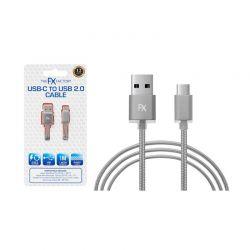 Καλώδιο Φόρτισης Braided USB to Lightning Τύπου C Χρώματος Σκούρο Γκρι FX R165502