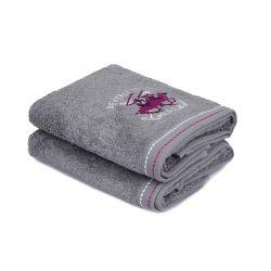 Σετ με 2 Πετσέτες Προσώπου 50 x 90 cm Χρώματος Γκρι Beverly Hills Polo Club 355BHP2233