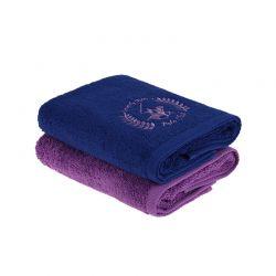 Σετ με 2 Πετσέτες Προσώπου 50 x 90 cm Χρώματος Navy - Μωβ Beverly Hills Polo Club 355BHP2236
