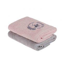 Σετ με 2 Πετσέτες Προσώπου 50 x 90 cm Χρώματος Ροζ - Γκρι Beverly Hills Polo Club 355BHP2237