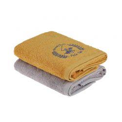 Σετ με 2 Πετσέτες Προσώπου 50 x 90 cm Χρώματος Μουσταρδί - Γκρι Beverly Hills Polo Club 355BHP2238