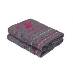 Σετ με 2 Πετσέτες Προσώπου 50 x 90 cm Χρώματος Γκρι Beverly Hills Polo Club 355BHP2252