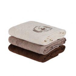 Σετ με 3 Πετσέτες Προσώπου 50 x 90 cm Χρώματος Μπεζ - Καφέ Beverly Hills Polo Club 355BHP2261
