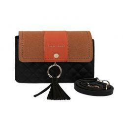 Γυναικεία Τσάντα Ώμου Χρώματος Μαύρο - Πορτοκαλί Laura Ashley Monza 651LAS1601